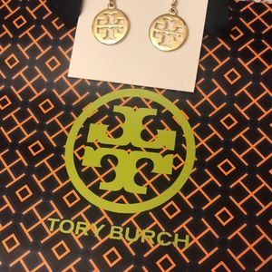 VGUC Tory Burch Gold Colored Logo Earrings